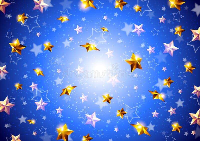 Goldene Sterne auf einem blauen Hintergrund stockfoto