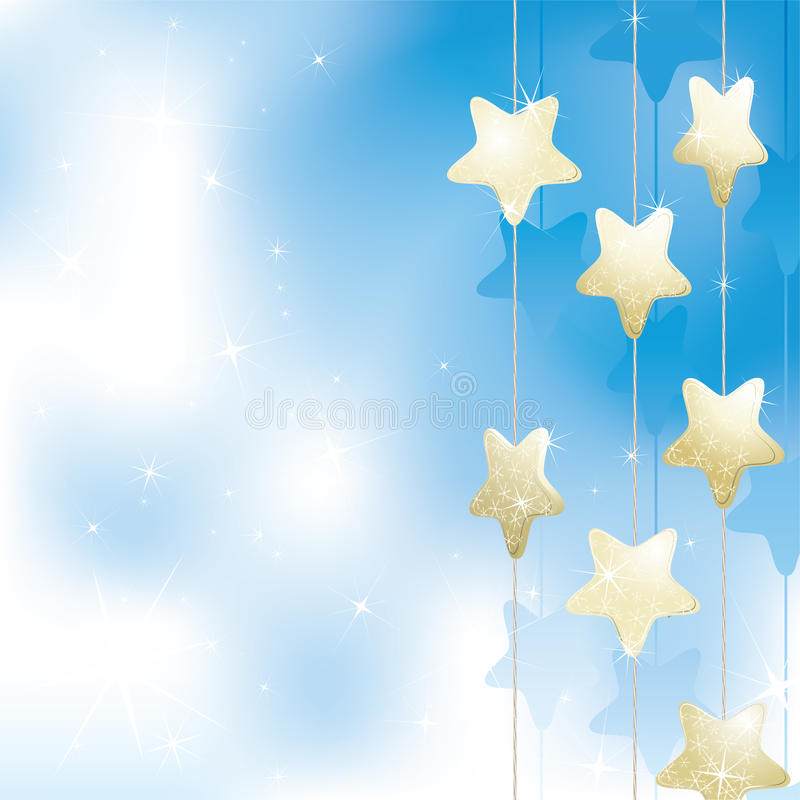 Goldene Sterne auf einem hellblauen Hintergrund vektor abbildung
