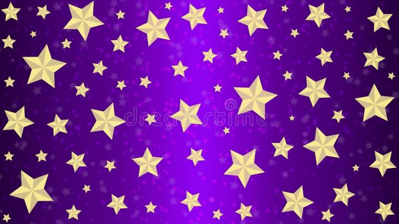 Goldene Sterne im purpurroten Hintergrund stockbild