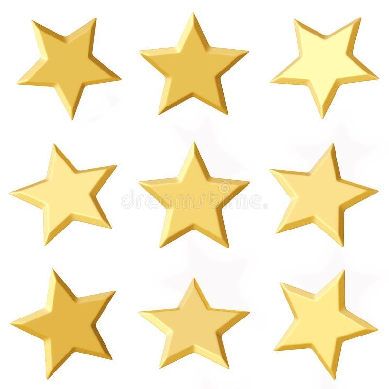 Goldene Sterne Verschiedene Winkel stockbild