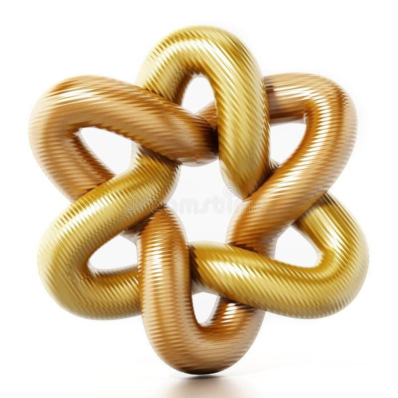 Goldene sternförmige Verzierung Abbildung 3D lizenzfreie abbildung