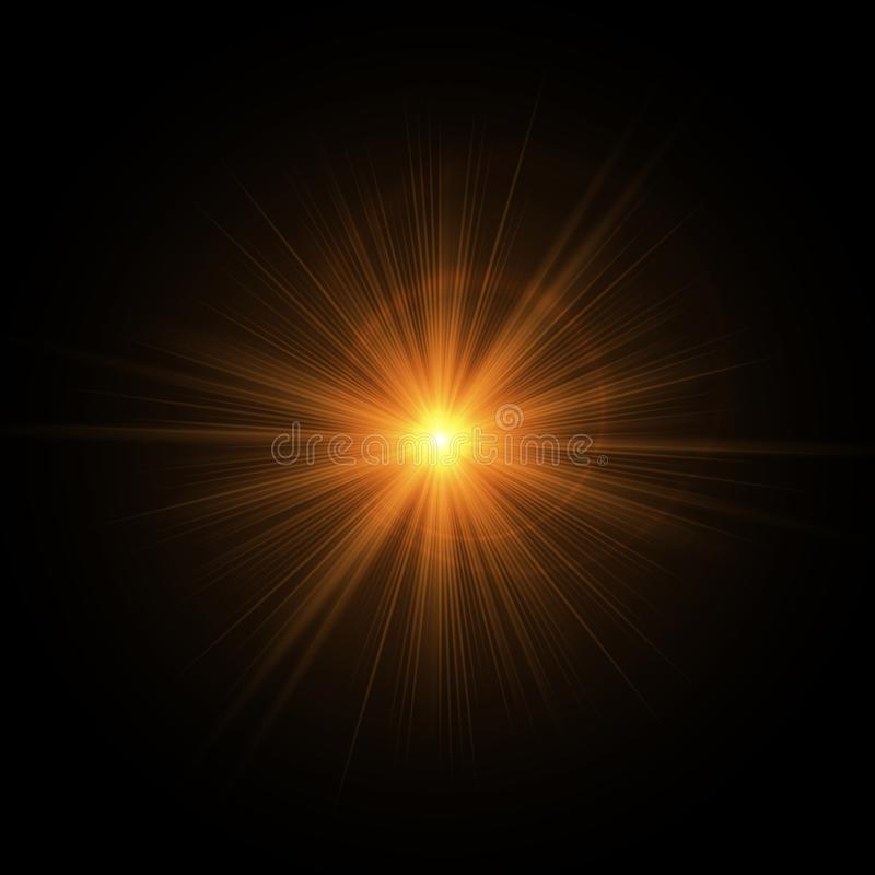 Goldene Strahlen der Sonne stock abbildung