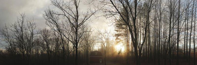 Goldene Stunden-Scheune panoramisch stockbilder