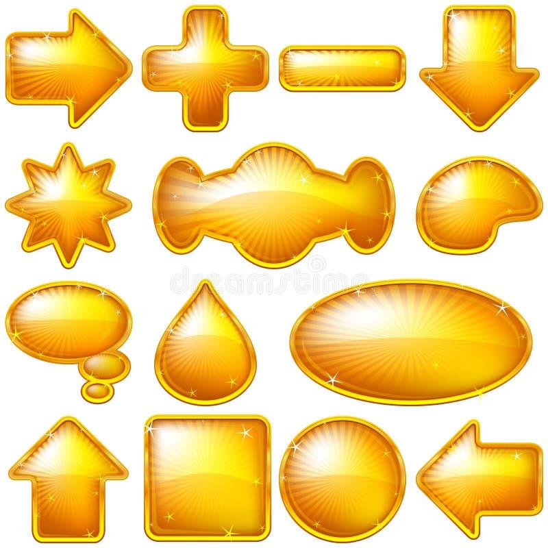 Goldene Tasten, Set lizenzfreie abbildung