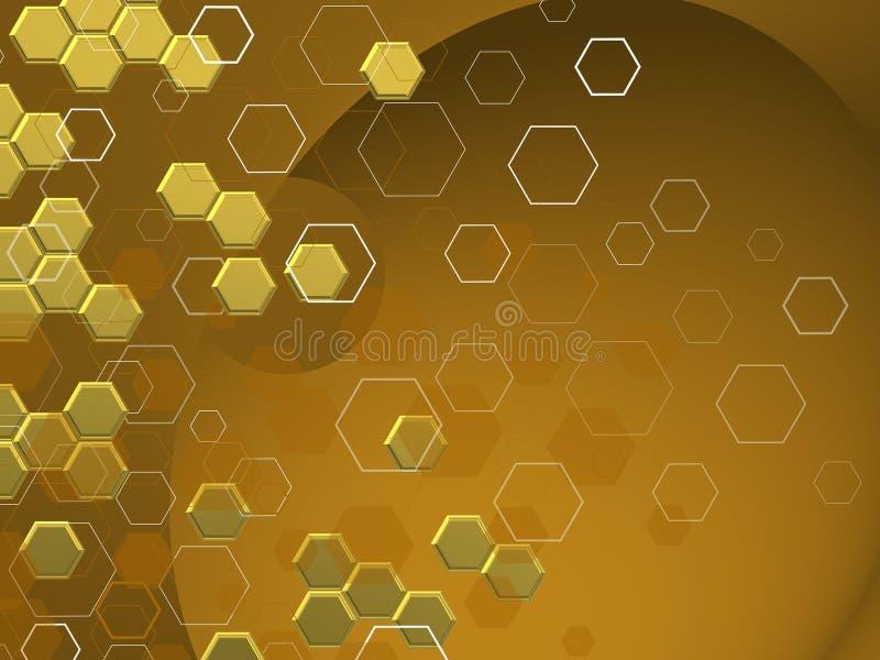 GOLDENE TECHNOLOGIE Hexagone in differnts shaphes ÃœBER HELLEM Hintergrund vektor abbildung