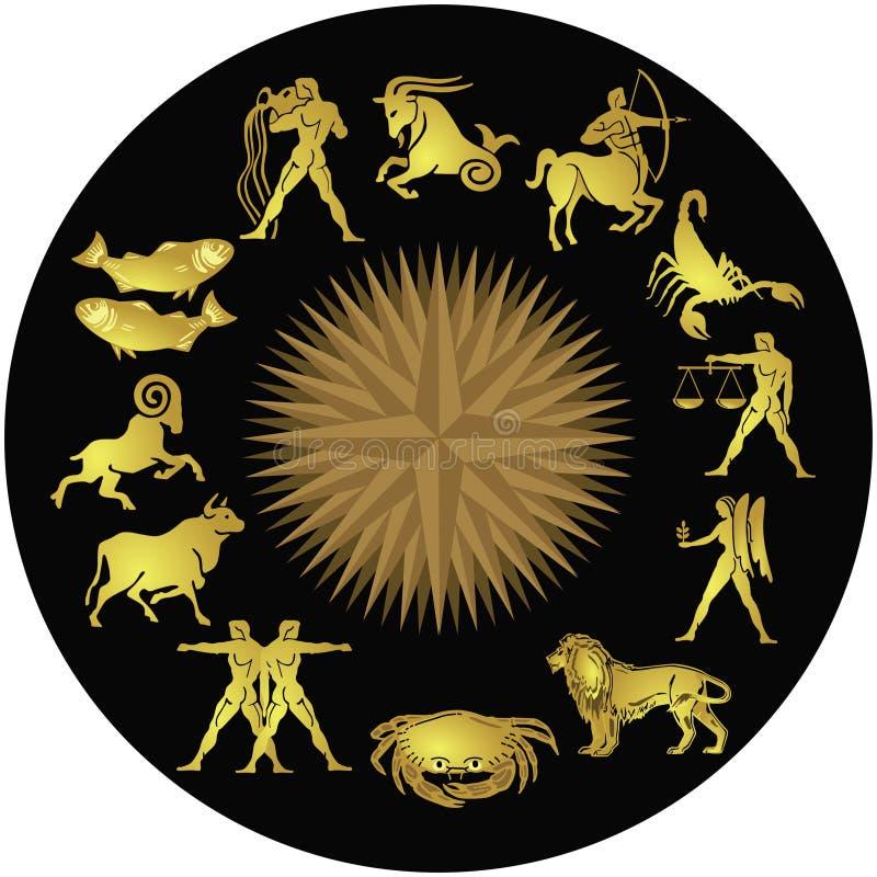 Goldene Tierkreis-Zeichen lizenzfreie abbildung