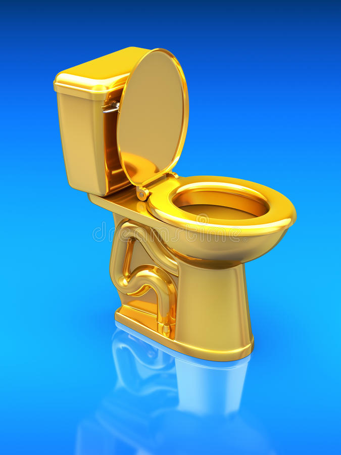 Goldene Toilettenschüssel stock abbildung