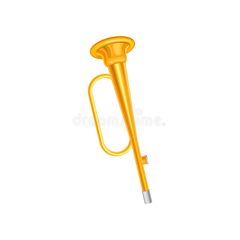 Goldene trompette Ikone Konzept des kleinen Messingmusikinstrumentes Dekoratives Element für Musikspeicher, Promoplakat stock abbildung