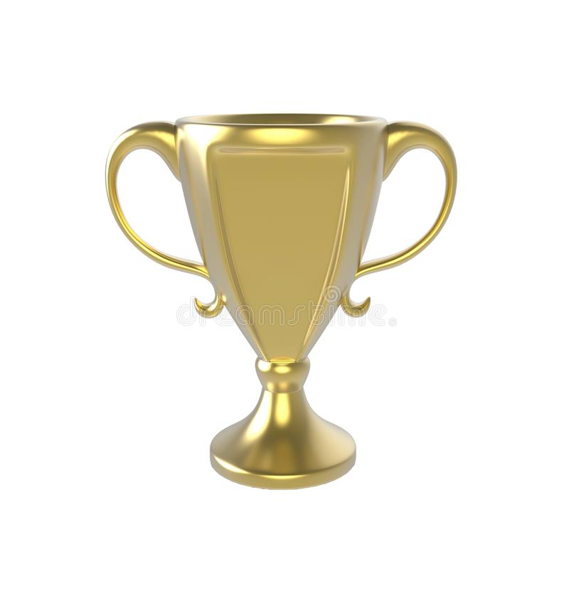 Goldene Trophäe Bild 3d getrennt auf weißem Hintergrund lizenzfreie abbildung