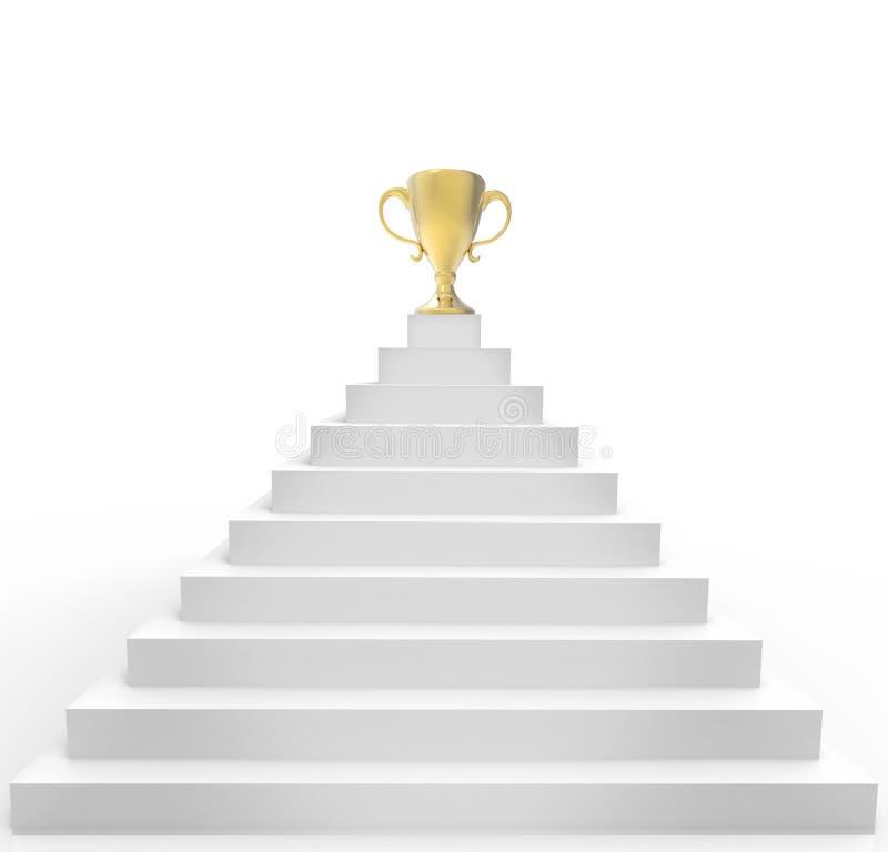 Goldene Trophäe - ein Symbol des Erfolgs auf die Pyramide lizenzfreie abbildung