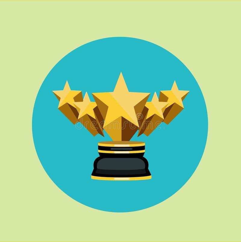 Goldene Trophäe mit fünf Sternen auf farbigem Hintergrund lizenzfreie abbildung