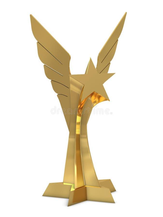 Goldene Trophäe mit Stern und Flügeln stock abbildung