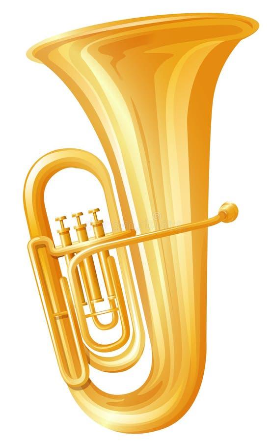 Goldene Tuba auf weißem Hintergrund vektor abbildung
