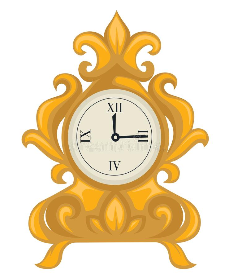 Goldene Uhr in der barocken Art, Skala mit Hände lokalisiertem Gegenstand lizenzfreie abbildung