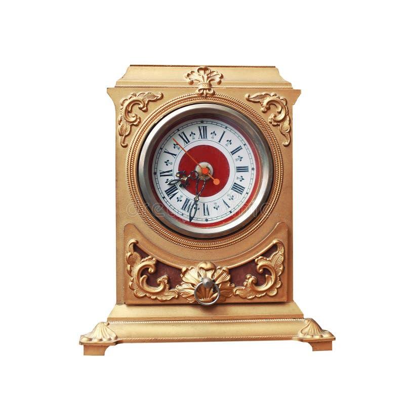 Goldene Uhr der Weinlese auf weißem Hintergrund stockfotografie