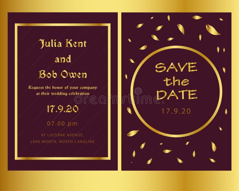 Goldene und moderne Heiratseinladungsschablone lizenzfreie abbildung