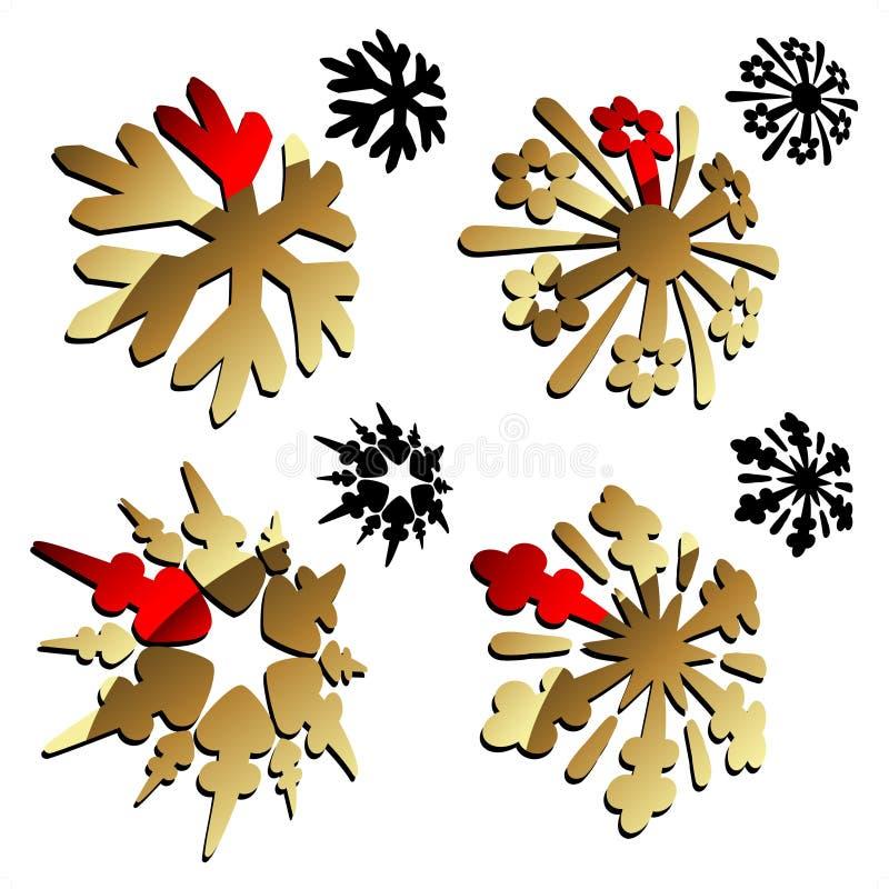 Goldene und schwarze Schneeflocken 3D stock abbildung