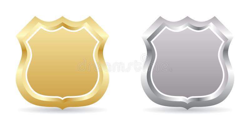 Goldene und silberne Abzeichen stock abbildung