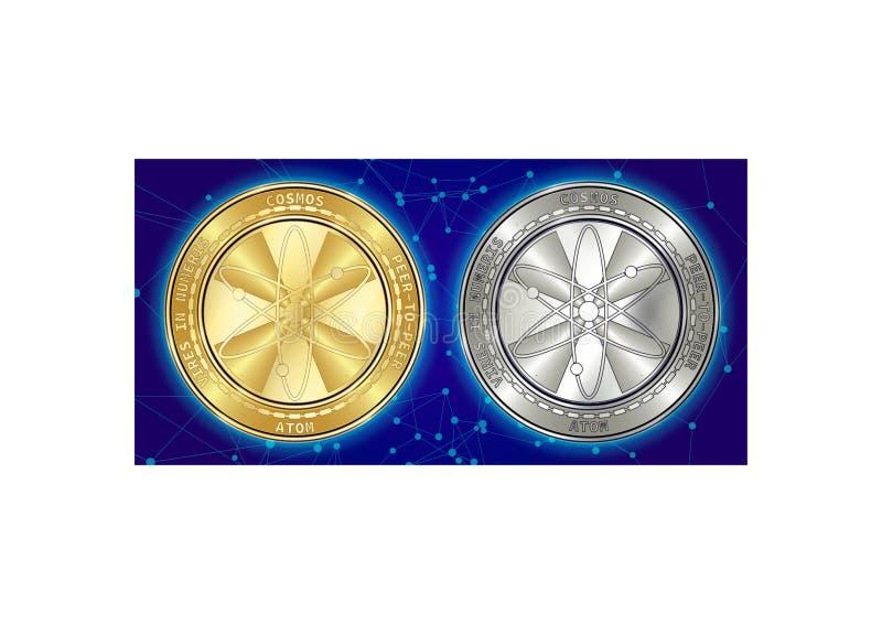 Goldene und silberne Kosmos ATOM cryptocurrency Münzen auf blockchain Hintergrund stockfotografie
