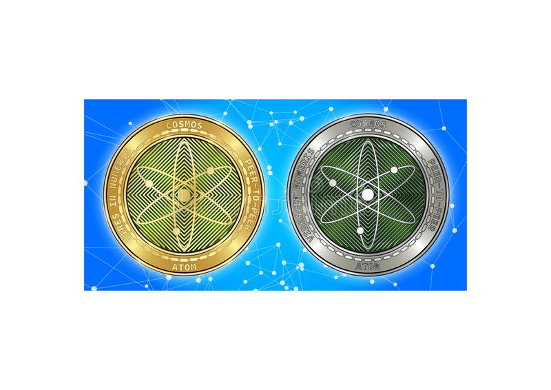 Goldene und silberne Kosmos ATOM cryptocurrency Münzen auf blockchain Hintergrund lizenzfreie stockfotografie