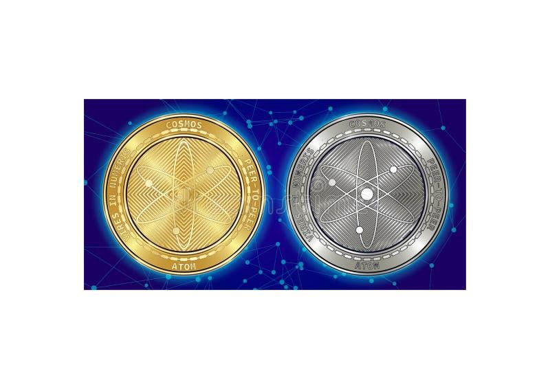 Goldene und silberne Kosmos ATOM cryptocurrency Münzen auf blockchain Hintergrund lizenzfreie stockfotos