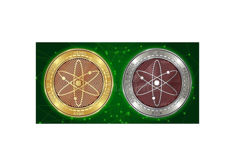 Goldene und silberne Kosmos ATOM cryptocurrency Münzen auf blockchain Hintergrund lizenzfreies stockbild