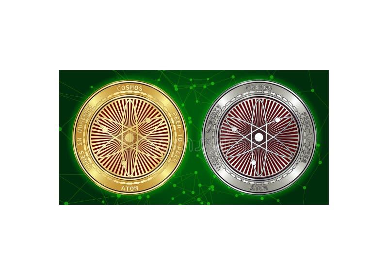 Goldene und silberne Kosmos ATOM cryptocurrency Münzen auf blockchain Hintergrund stockfoto