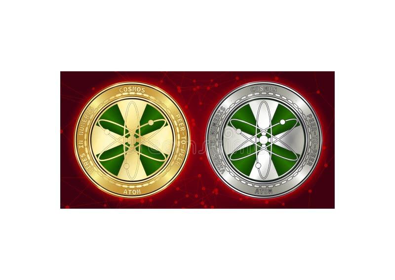 Goldene und silberne Kosmos ATOM cryptocurrency Münzen auf blockchain Hintergrund stockbild