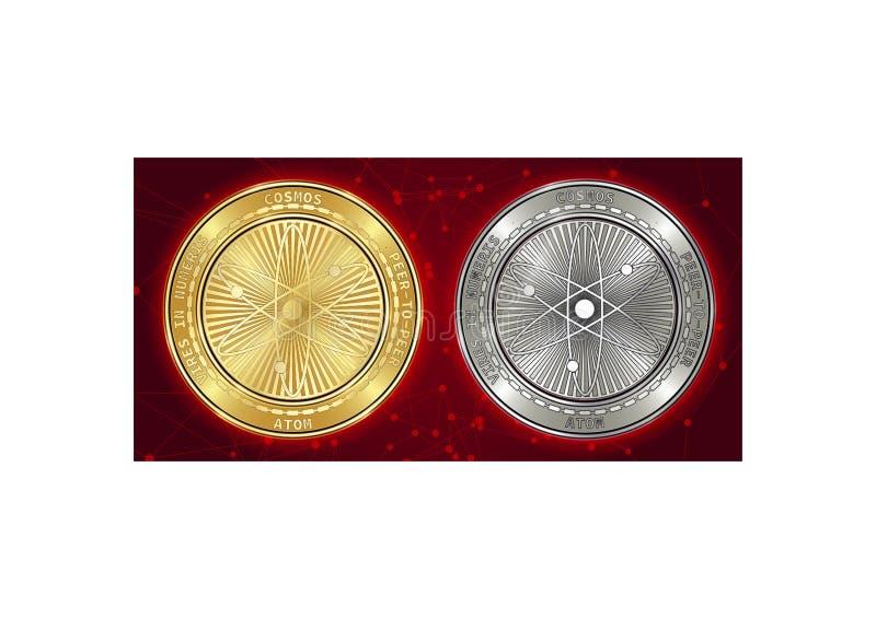 Goldene und silberne Kosmos ATOM cryptocurrency Münzen auf blockchain Hintergrund stockbilder