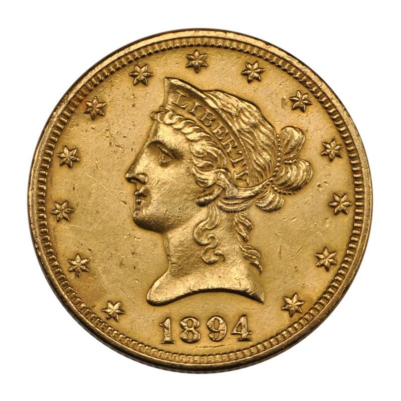 Goldene US 10 Dollar lizenzfreie stockfotos