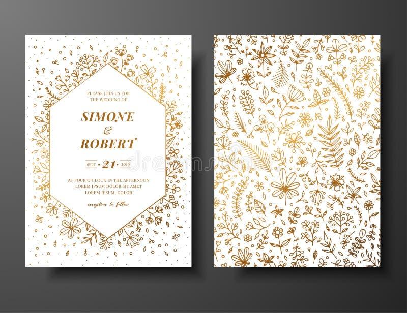 Goldene Vektorhochzeitseinladung mit den Hand gezeichneten Zweigen, den Blumen und den brahches Goldene botanische Schablone für  vektor abbildung