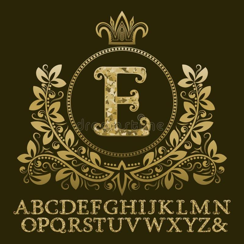 Goldene verkrustete Buchstaben und Anfangsmonogramm im Wappen bilden sich mit Krone Königliche Guss- und Elementausrüstung für Lo stock abbildung