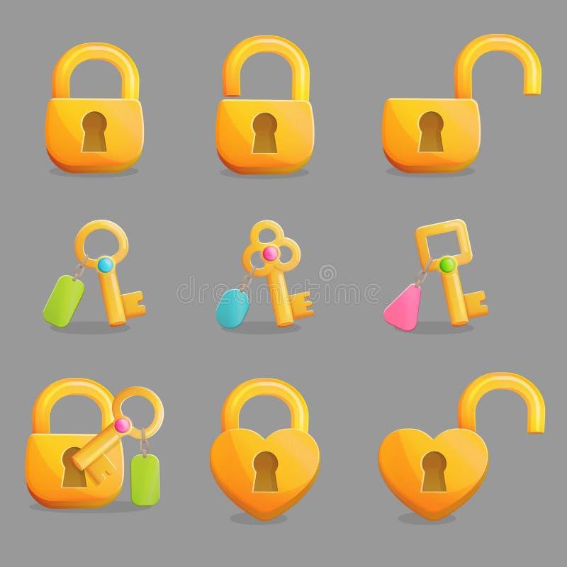 Goldene Verschlüsse und Schlüssel mit Charme lizenzfreie abbildung