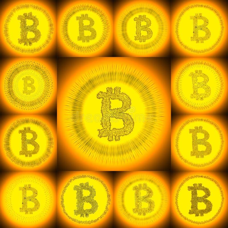 Goldene von Hand gezeichnete Bitcoin-Symbolcollage stockfotos