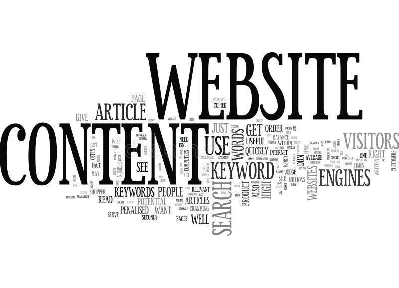 Goldene Wörter auf Website-Inhaltswort-Wolke stock abbildung