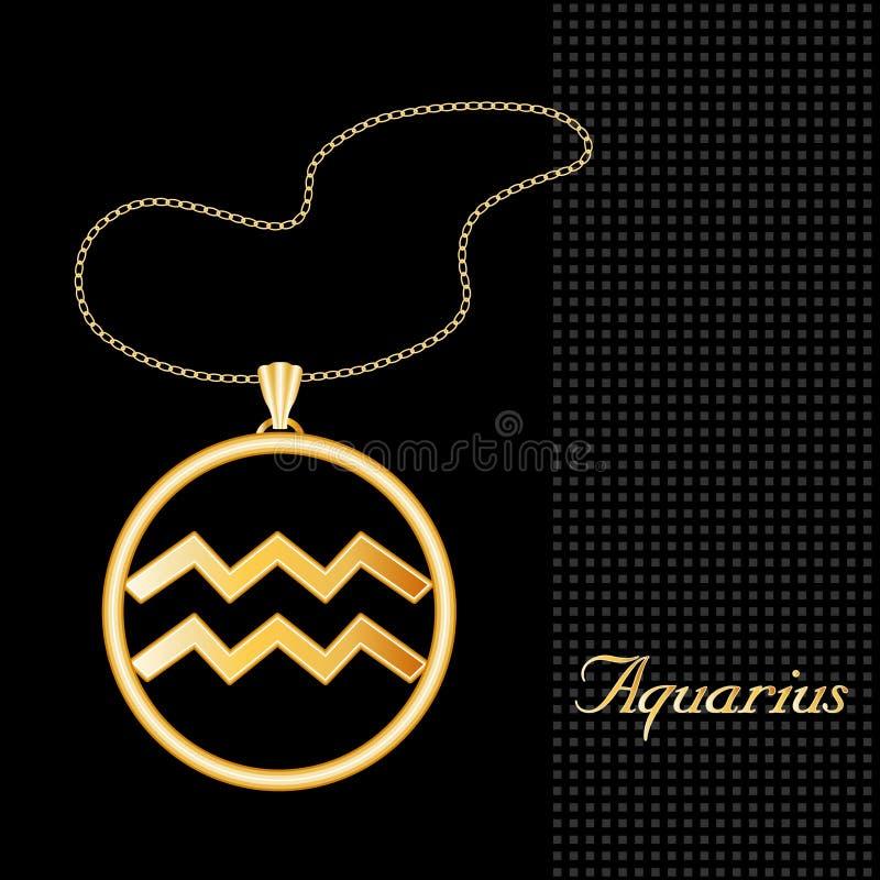 Goldene Wassermann-Halskette (EPS+ stock abbildung