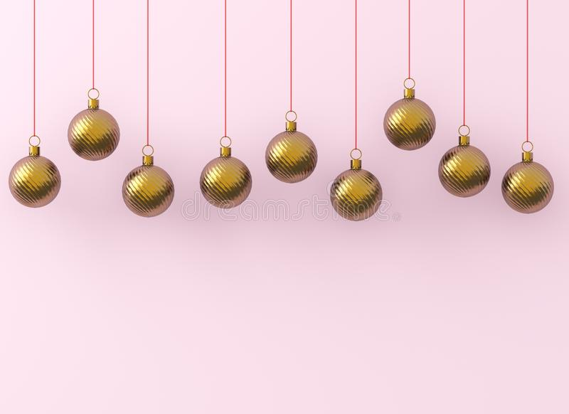 Goldene Weihnachtsballverzierungen auf rosa Hintergrund Neues Jahr ` s Eve goldene rote glänzende Windung Dekoration zeichnet hän vektor abbildung