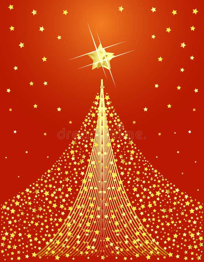 Goldene Weihnachtsbaumauslegung stock abbildung