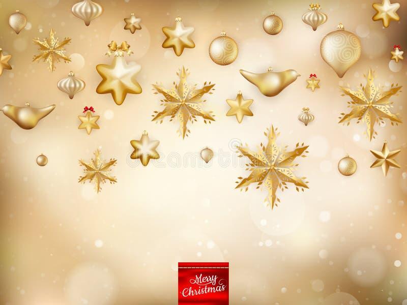 Goldene Weihnachtsdekoration ENV 10 stock abbildung