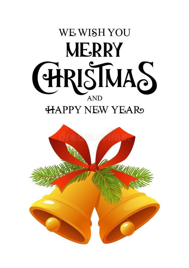 Goldene Weihnachtsglocke mit der roten Bandklingelglockenikone lokalisiert auf weißem Hintergrund lizenzfreie abbildung