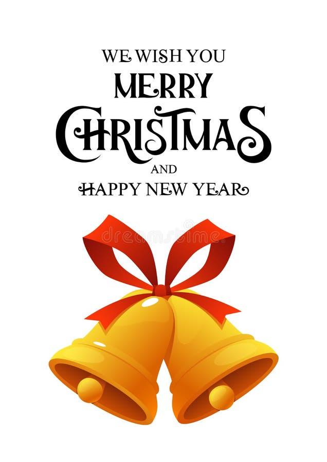 Goldene Weihnachtsglocke mit der roten Bandklingelglockenikone lokalisiert auf weißem Hintergrund vektor abbildung