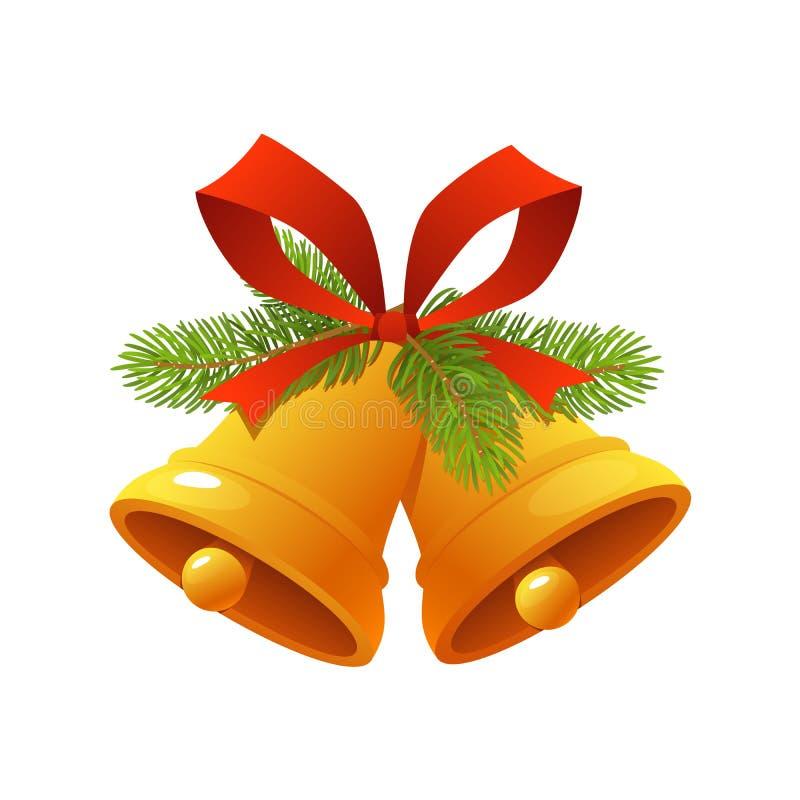 Goldene Weihnachtsglocke mit roter Bandklingelglocken-Ikonenvektorillustration auf weißem Hintergrund lizenzfreie abbildung