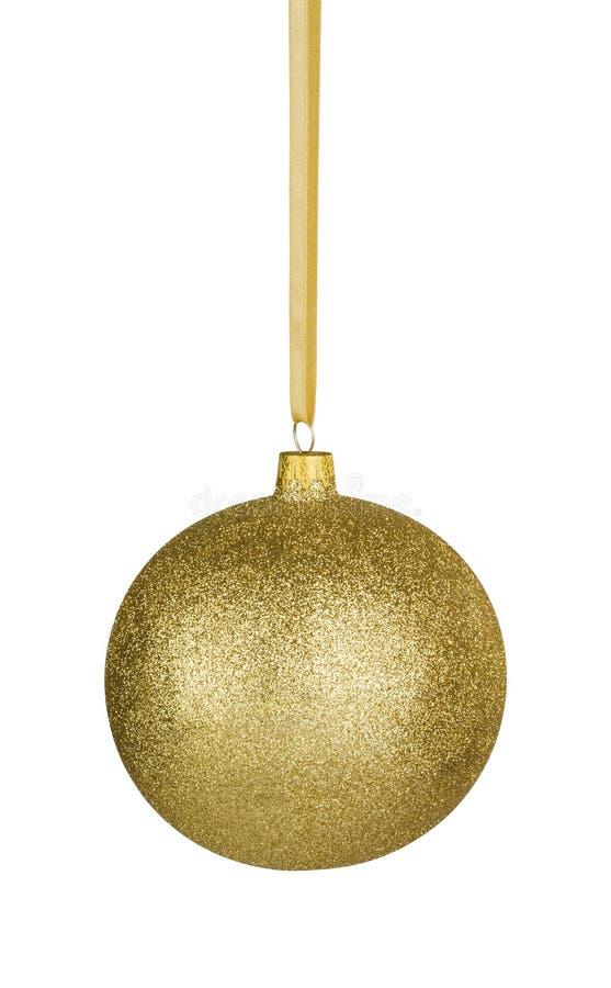 Goldene Weihnachtskugel mit Pfad stockbild
