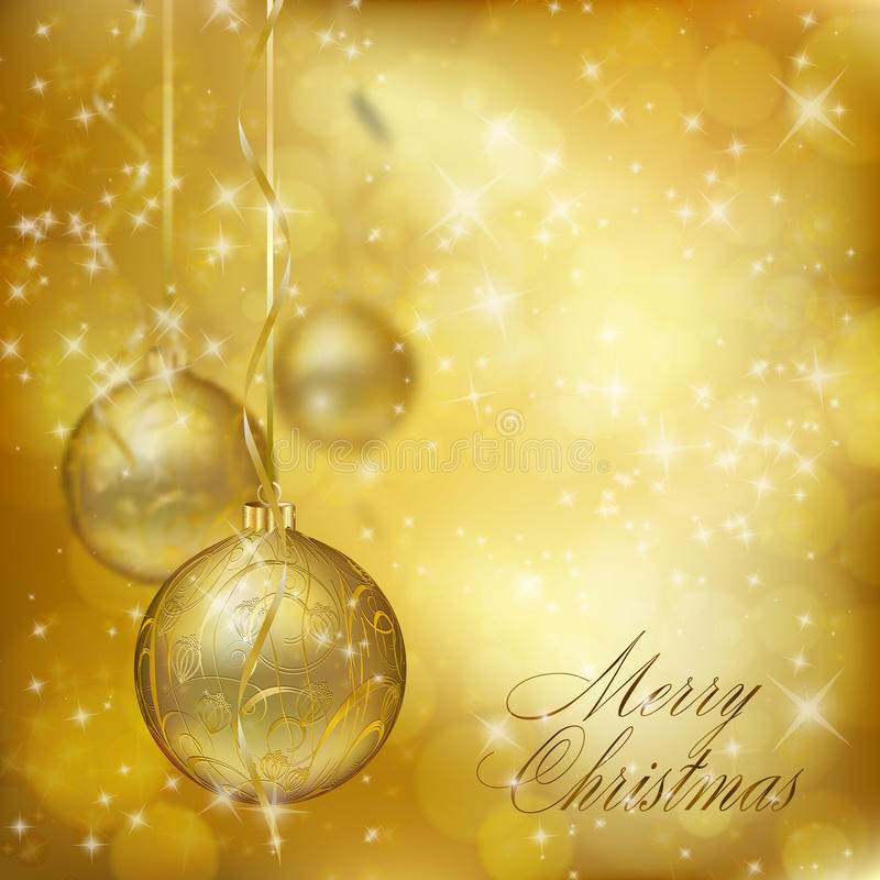 Goldene Weihnachtskugeln stock abbildung