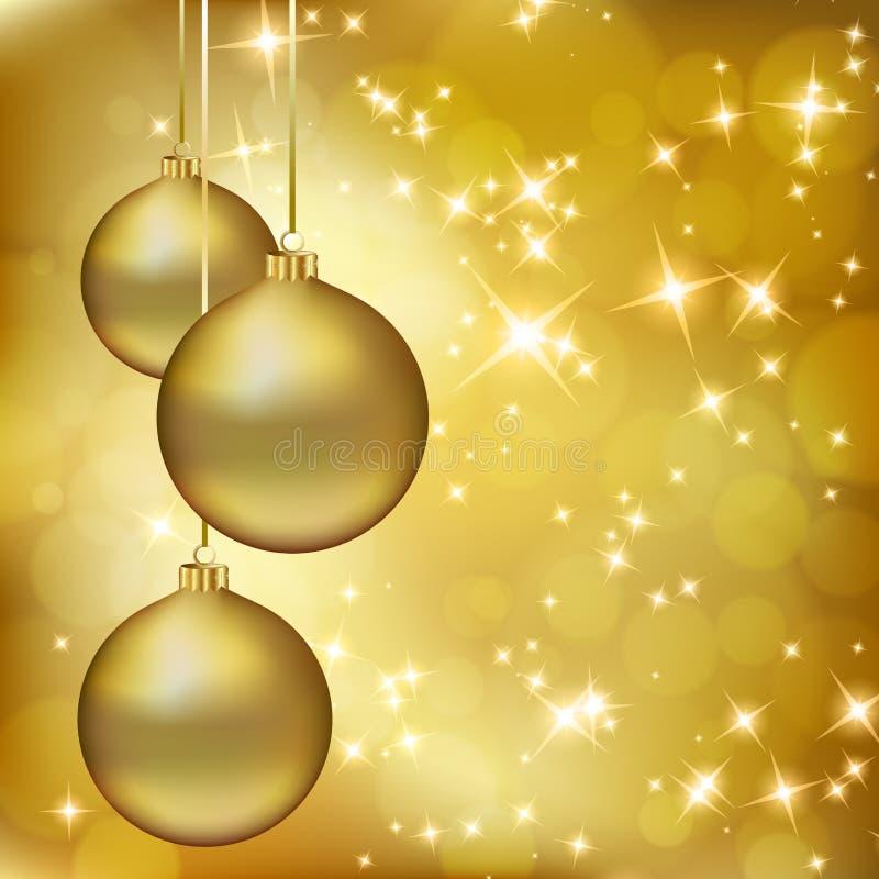 Goldene Weihnachtskugeln auf abstraktem Goldhintergrund lizenzfreie abbildung