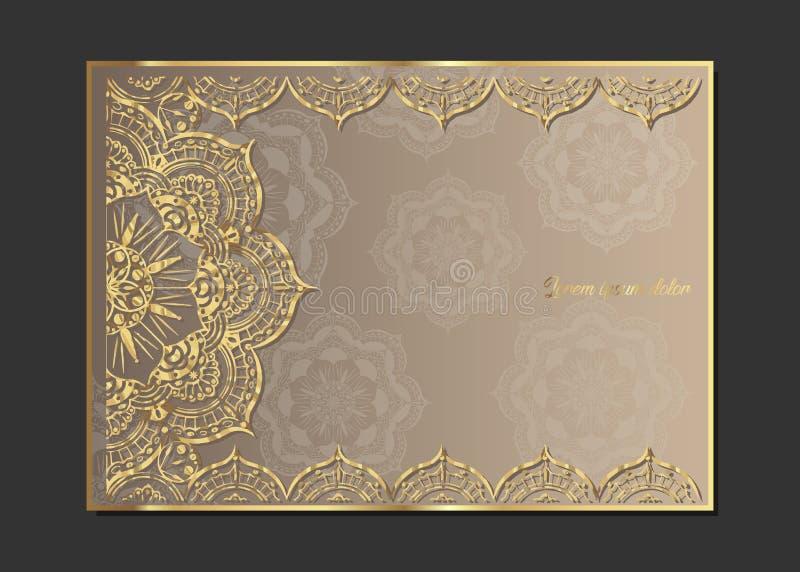 Goldene Weinlesegrußkarte auf einem beige Hintergrund Luxusverzierungsschablone Groß für Einladung, Flieger, Menü, Broschüre, pos lizenzfreie abbildung