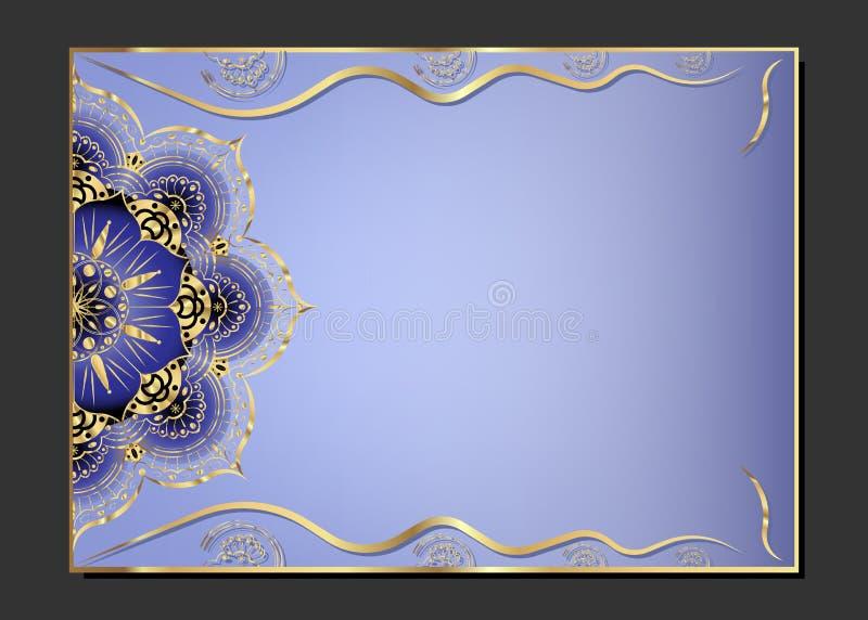 Goldene Weinlesegrußkarte auf einem lila Hintergrund Luxusverzierungsschablone Groß für Einladung, Flieger, Menü, Broschüre, post stock abbildung