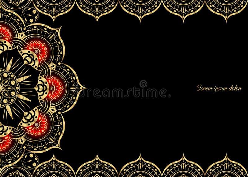 Goldene Weinlesegrußkarte auf einem schwarzen Hintergrund Luxusverzierungsschablone Groß für Einladung, Flieger, Menü, Broschüre, vektor abbildung