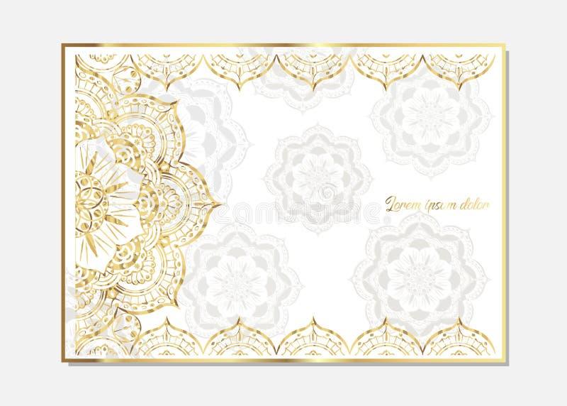 Goldene Weinlesegrußkarte auf einem weißen Hintergrund Luxusverzierungsschablone Groß für Einladung, Flieger, Menü, Broschüre, po vektor abbildung