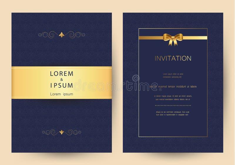 Goldene Weinleseluxushochzeit, Einladung, Feier, Gruß, Glückwünsche kardiert Musterhintergrundschablone vektor abbildung